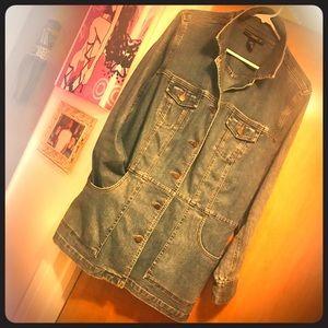 Denim Jacket Blazer / Coat Blue Plus Size style